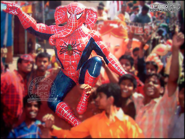 Ganesha as SpiderMan India Funny Picture