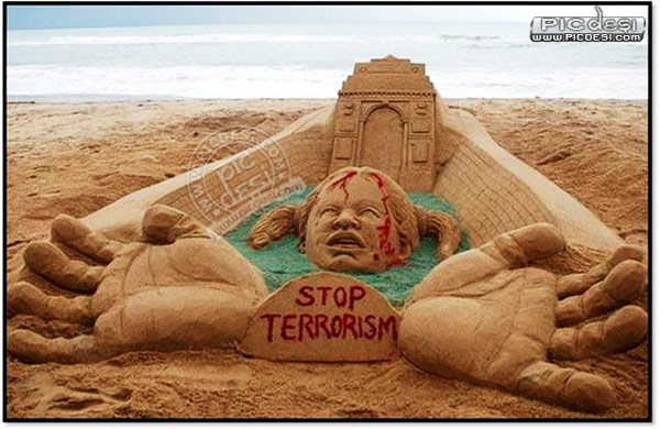Stop Terrorism Sand Message India Picture