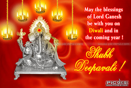 Shubh Deepavali Blessings of Lord Ganesh Diwali Picture