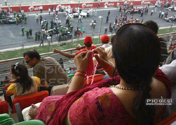 Woman enjoying Indian Formula One India Funny Picture