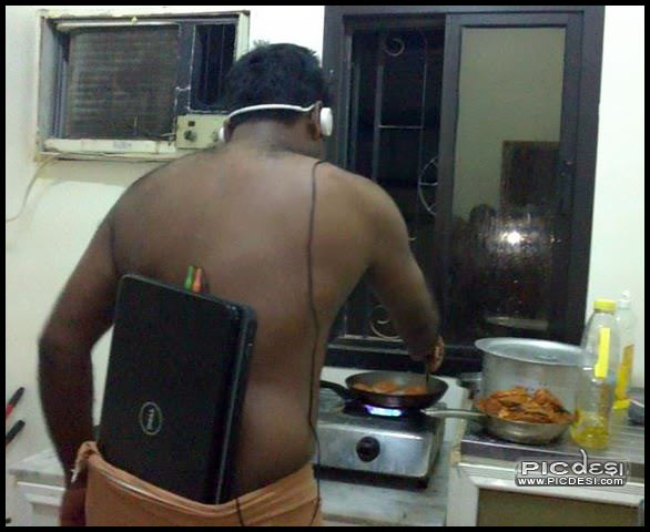 Creative use of Laptop as Music Player India Funny Picture
