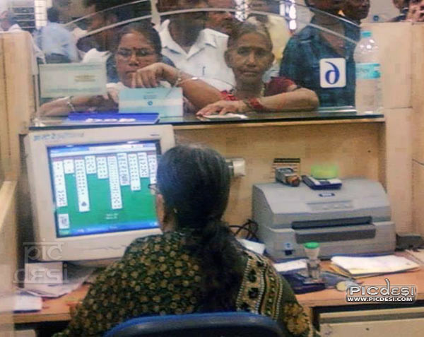 Indian Bank Employee on duty India Funny Picture