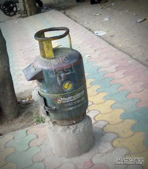 LPG Cylinder as Letter Box India Funny Picture
