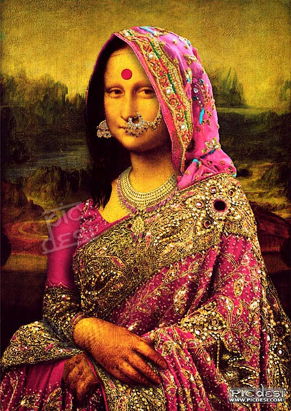 Monalisa Indian Saree Version India Funny Picture