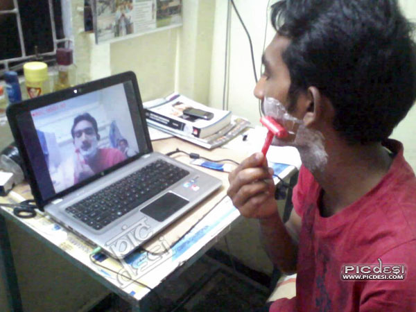 Shaving Hi Tech Style Funny India Funny Picture