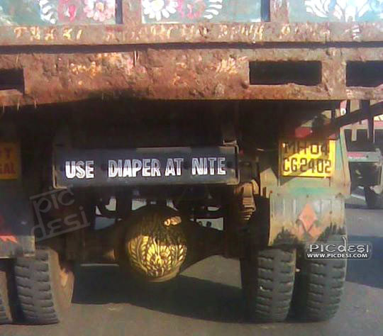 Use Diaper at Night Truck Funny Quote India Funny