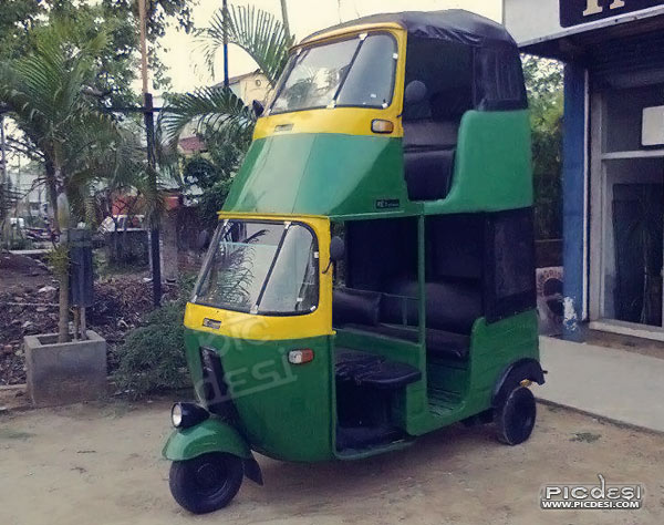 Double Decker Auto in India India Funny Picture