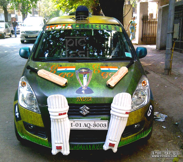 Crazy Cricket Fans Car India Funny Picture