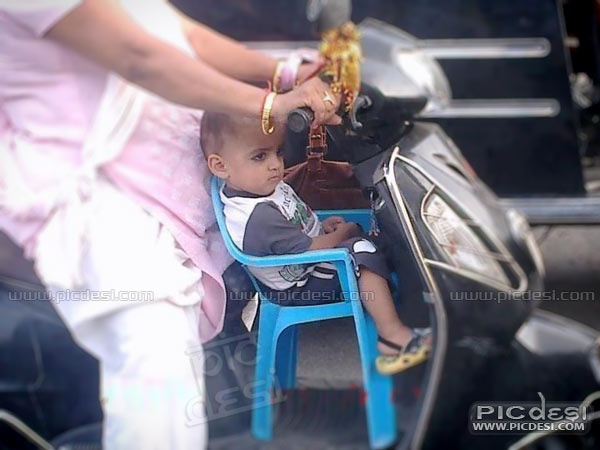 Child Seat on Scooter Desi Jugaad India Funny Picture