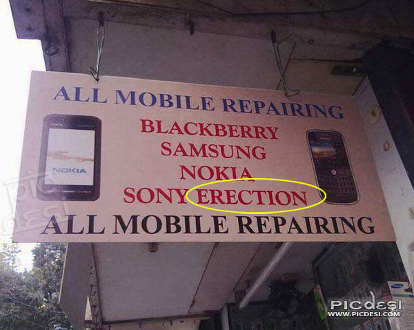 Mobile Repairing Funny English Board India Funny