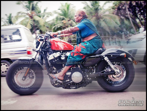 Old Woman driving bike only in India India Funny Picture