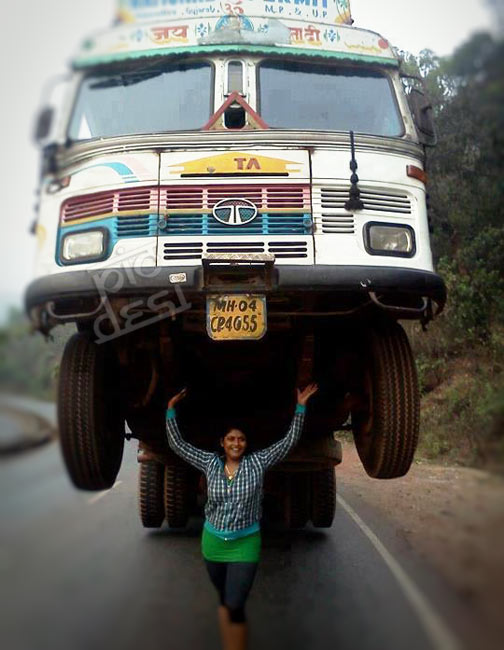 Indian Superwoman Lifting Truck India Funny Picture