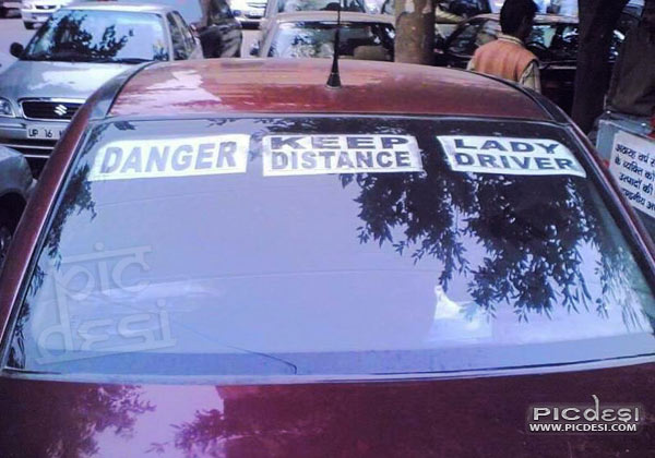 Danger Lady Driver Funny Warning India Funny