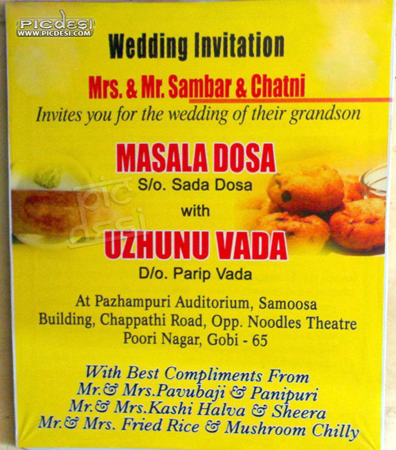 Funny Wedding Invitation of Food Items PicDesicom