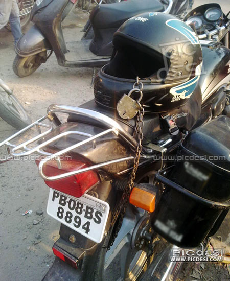 Helmet Lock Indian Desi Jugaad India Funny Picture