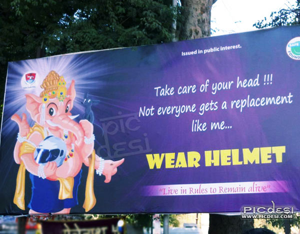 Wear Helmet Funny Display Board India Funny