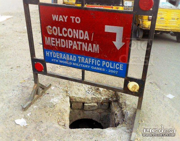 Way to Golconda Funny Sign India Funny