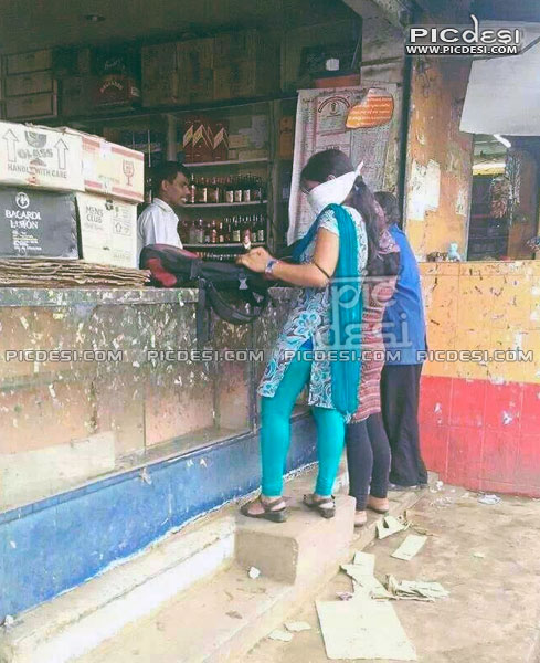 Indian Girls on Wine Shop India Funny Picture