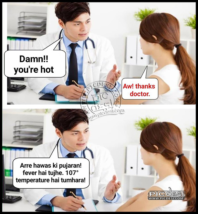 Girl Trolled By Doctor Hindi Funny Picture