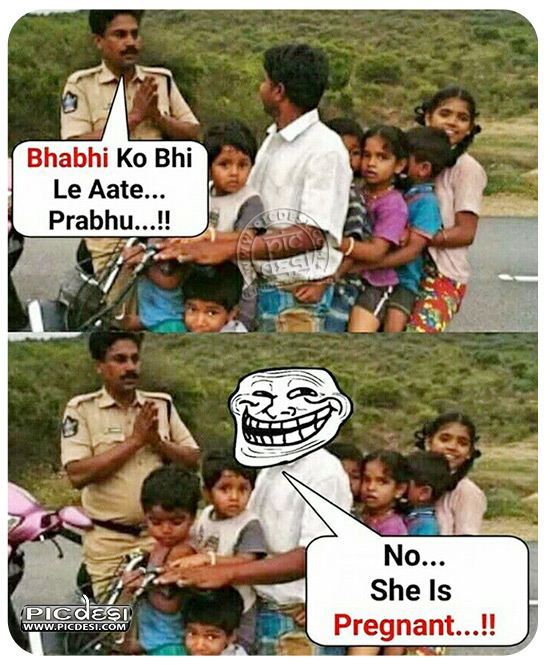 Policeman and Funny Father Hindi Funny Picture