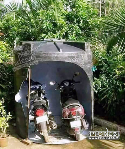 Bike Parking Desi Jugaad India Funny Picture