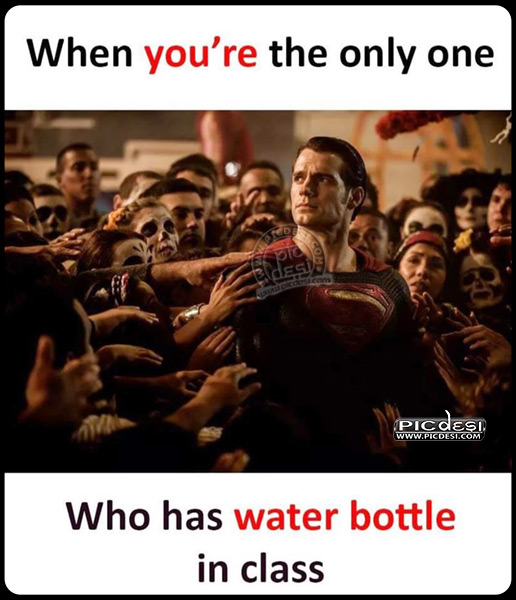Water Bottle in Class Funny Picture