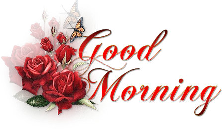 Good Morning Butterfly Red Roses Picture Good Morning Picture
