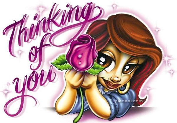 Thinking of You Girl Toon With Flower Thinking of You Picture