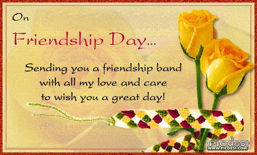 Sending you Friendship Band with Love Friendship Day Picture