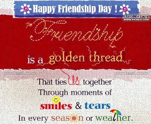 Friendship is a Golden Thread Friendship Day Picture