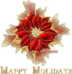 Happy Holidays Red Flower Happy Holidays