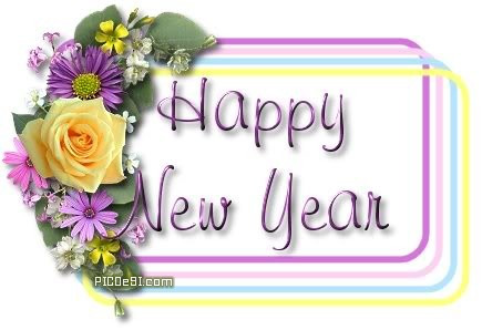 Happy New Year Flowers Frame Card New Year