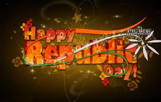 Happy Republic Day Floral Scrap Republic Day